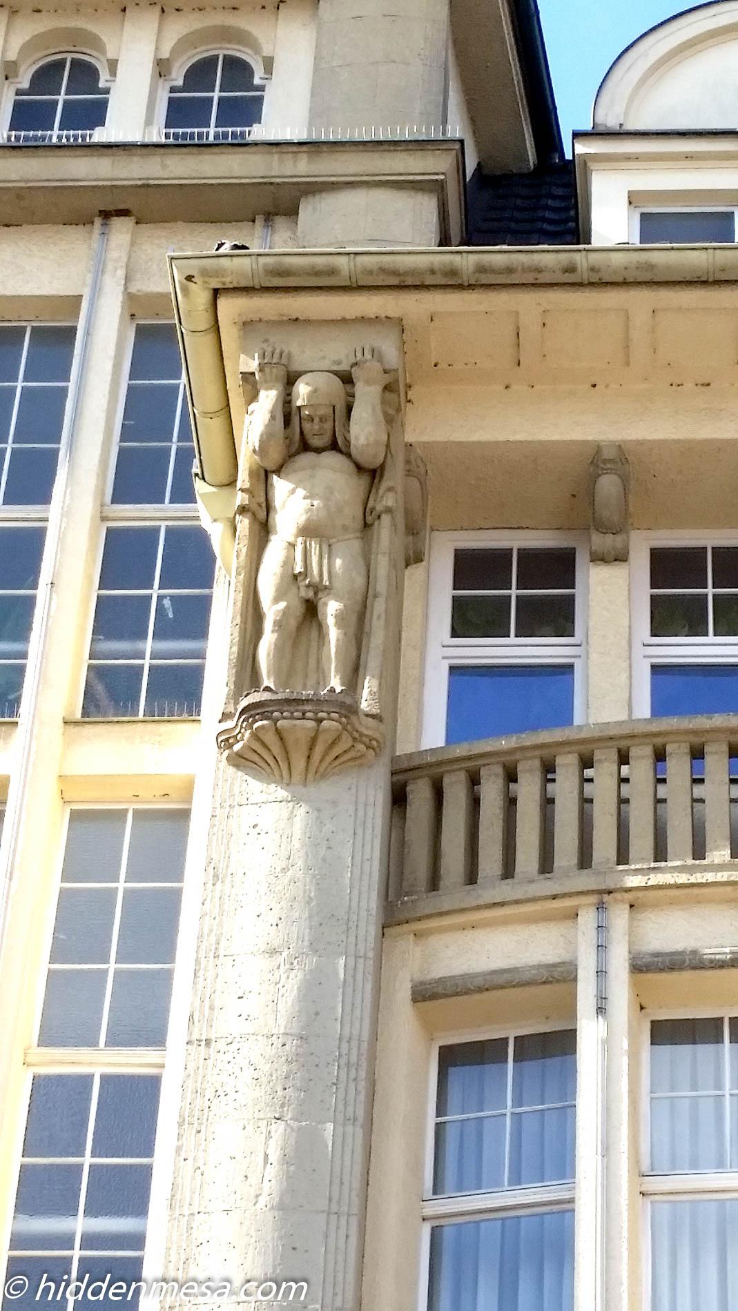 Statue on Building in Schwerin.