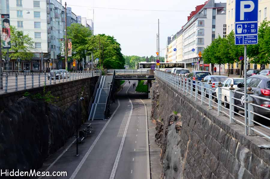 Pedestrian and bicycle Path in Downtown Helsinki