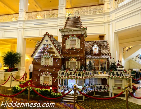 Since 1999, the chefs at the Grand Floridian Hotel at Walt Disney World Resort have built a massive gingerbread house in the main lobby of the hotel. Image by Donald Fink
