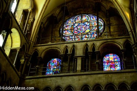 Stained glass windows tell the story of Canterbury Cathedral. Image by Bonnie Fink