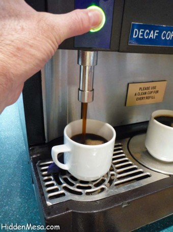 Coffee, Tea, or juices are available at any time.