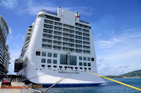 Norwegian Epic docked in St. Marten. Image by Donald Fink