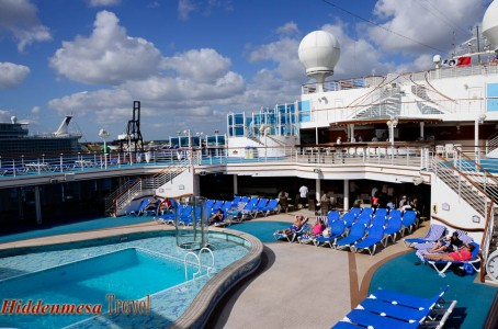 There are four pools aboard the Caribbean Princess. All are on Deck Fifteen, as are most of the outdoor activities.