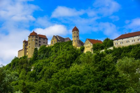 Medieval Castle on top of a hill with a village below. Image by Donald Fink.