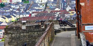 Double Bastion at the Londonderry Wall in Northern Ireland