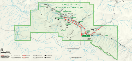 Chaco Canyon Historical Park map, from the National Park Service web site.