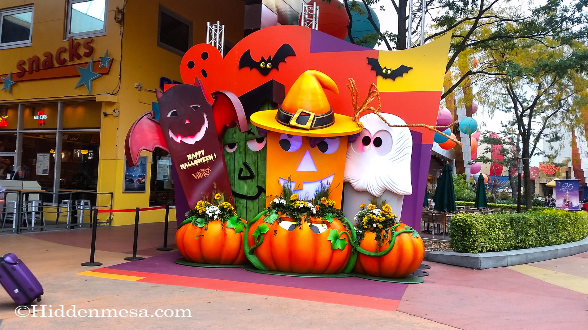Disney VIllage Decorated for Halloween