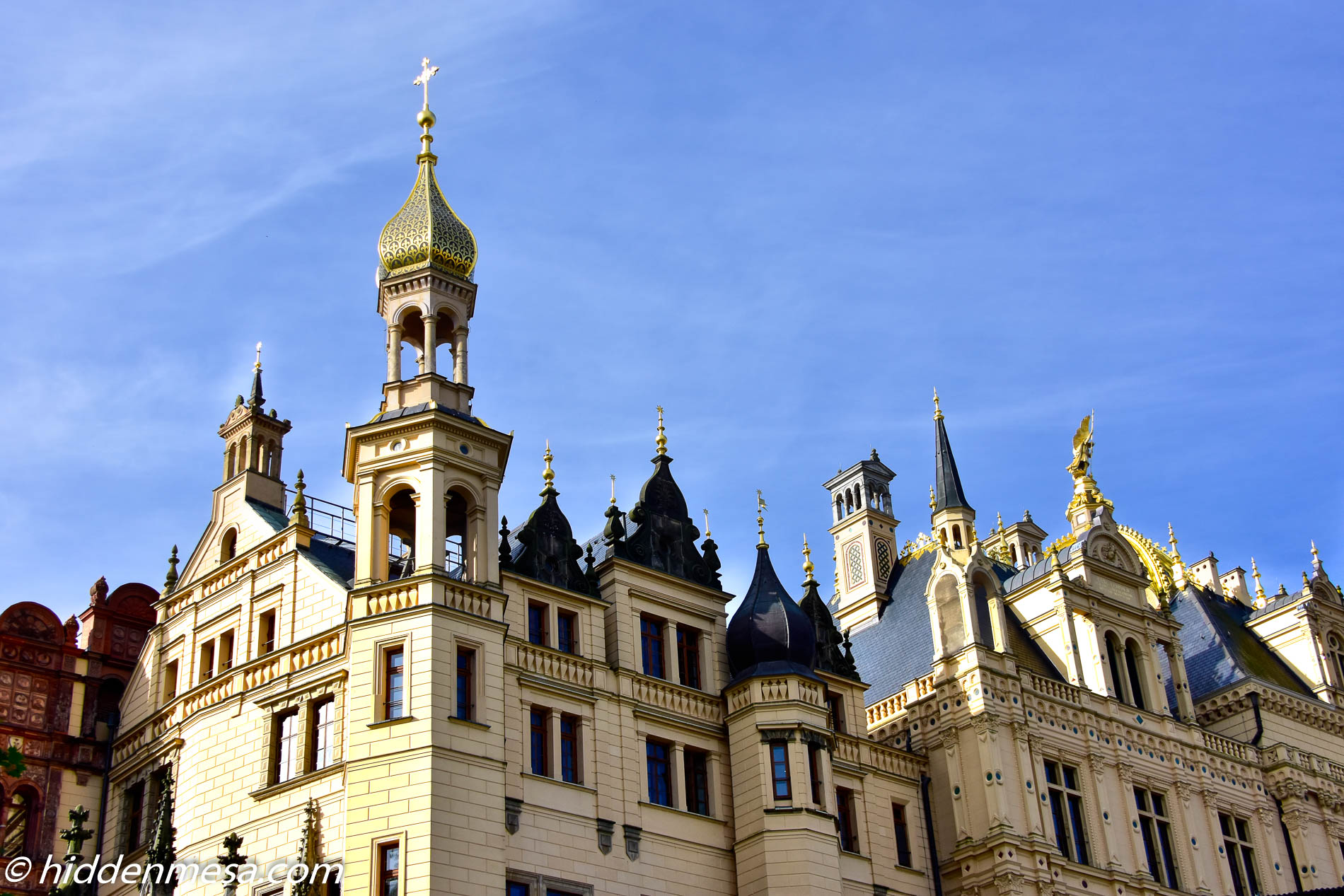 Roof line of Schwerin Palace.