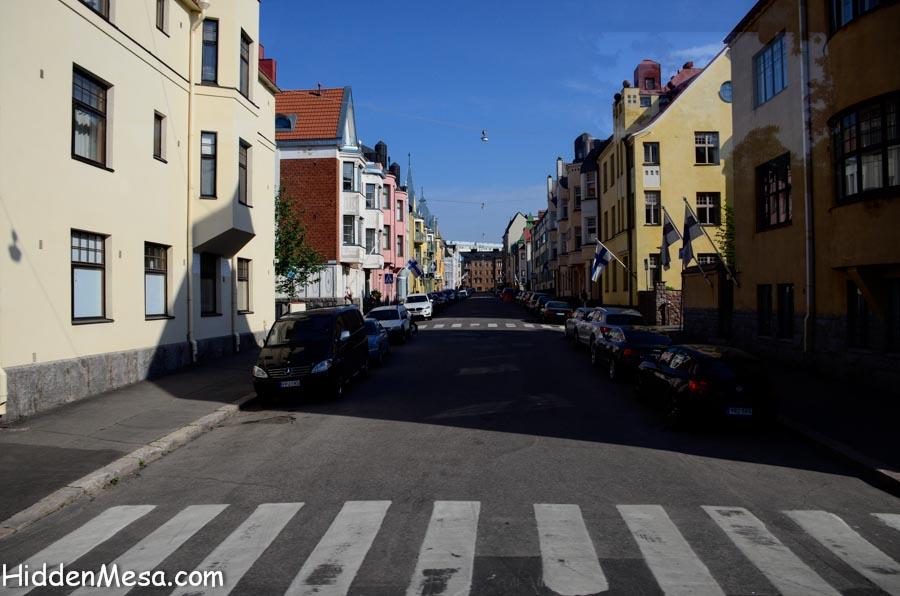 Looking Down a Street in Helsinki